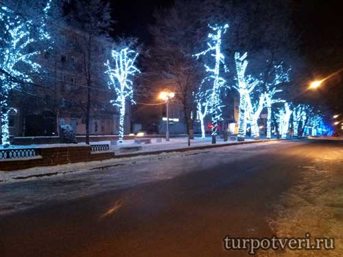 Улица Радищева в Твери на новый год